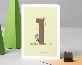 Happy First Birthday Card (Lumberjack)