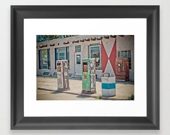 Fine Art Print Midway Station Rt. 66 Adrian Texas Retro Gas Pumps