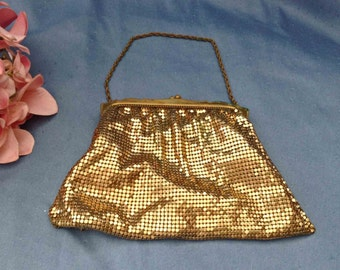 FREE Shipping, Whiting and Davis Gold Mesh Handbag, Gold Mesh Purse, Whiting and Davis Mesh Bag