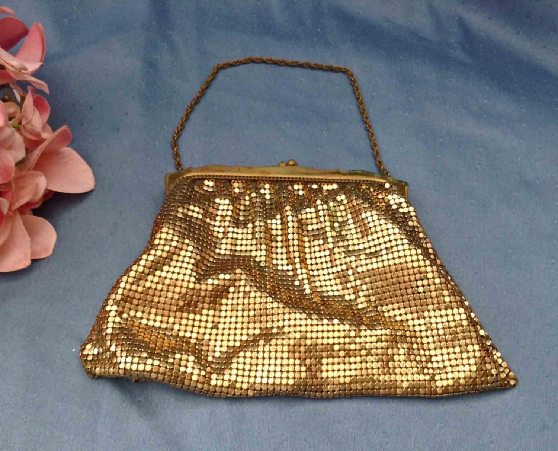 FREE Shipping Whiting and Davis Gold Mesh Handbag Gold Mesh
