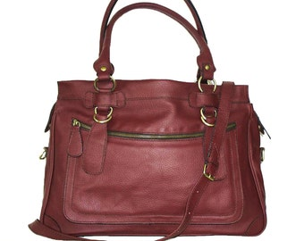"CHERRY RED Leather Tote Bag Cross-body Bag Rina extra large, fits a 17"" laptop"