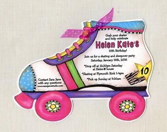 Personalized - Girl - Roller Skate - Birthday - Party - Invitations - Handcut - Girlie - Pink - Purple - Invite - Sara Jane