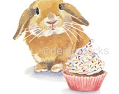 Rabbit Watercolour Painting PRINT - Bunny Rabbit, Cupcake Watercolor, Lop Eared Bunny, Nursery Art, Food Watercolor, Kitchen Art