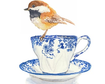 Chickadee Watercolor Painting - Teacup Watercolour, Bird Illustration, kitchen Art, Fine Art Print