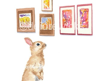 Rabbit Watercolor PRINT - 5x7 Bunny Rabbit Illustration, Art Gallery