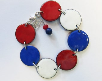 Red white and blue enamel disc bracelet Patriotic bracelet July 4th jewelry Modern Independence day jewelry