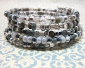 Silver and Gray Memory Wire Bracelet, Beaded Memory Wire Bracelet, Gray Wrap Bracelet