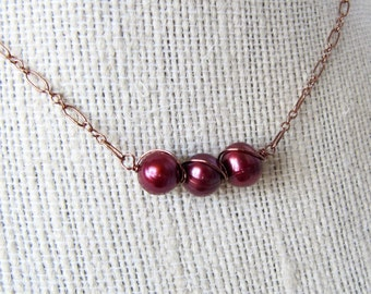 Cranberry Pearl Copper Wire Wrapped Necklace, Natural Wine Red Pearl Copper Chain Necklace, Simple Pearl Bar Necklace
