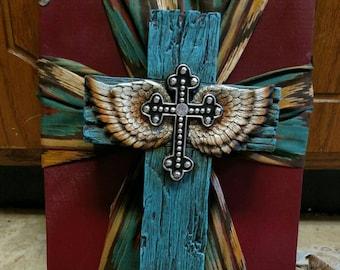 Western Angel wing cross in a cross wall hanging
