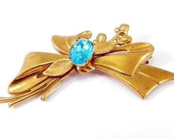 """Vintage Rose Gold London Blue Sash Brooch - Bow Long Stem Roses - Foil Back Rhinestone - Vermeil - 3"""" Wide - HUGE"""
