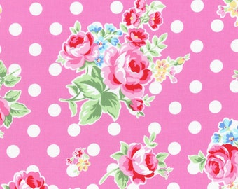 floral pink fabric with white dots from Flower Sugar fall 2015 by Lecien of Japan