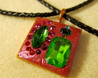 Bright Red and Green Crystal Clay Pendant