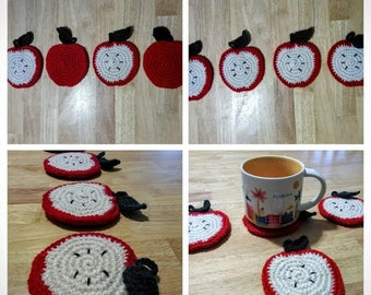 Set of 4 Apple Coasters-Any Color-Handmade-Made To Order
