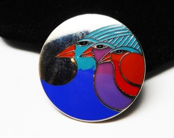 Vintage Laurel Burch Bird Brooch - Signed Celestial Birds  Pin - Purple & Blue Enamel -  Silvertone Setting -