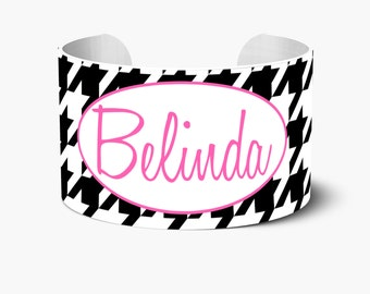 Houndstooth Personalized Cuff Bracelet, Personalized Cuff Bracelets, Monogrammed Cuff Bracelet,Custom Personalized Create Your Own Bracelet