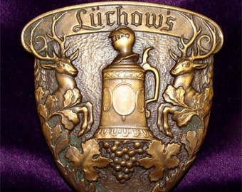 Heavy BRONZE German Medallion LUCHOW'S Restaurant New York 1930's