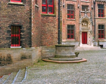 Fine Art Color Photography of Old Well In a Courtyard in Bruges (Brugge)