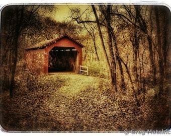 Retro Digital Print of Rustic Old Covered Bridge at Sandy Creek - Phone Edit