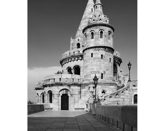 Fine Art Black & White Architecture Photography of Fishermans Bastion in Budapest Hungary