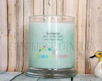 Rainwater Scented Soy Candle, Turquoise Blue Jar Candle, Tuberose Status Jar Candle, Aromatherapy Candle, Deodorizing Candle