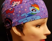 Purple My Little Pony, Skull Cap, Chemo Cap, Surgical Cap, Alopecia, Head Wrap, Hat, Hair Loss, Bald, Helmet Liner, Do Rag, Women, Hand Made