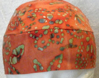 Orange w Green Designs Batik Skull or Chemo Cap, Hats, Do Rag, Alopecia, Motorcycle, Head Wrap, Surgical Cap, Handmade, Hair Loss, Bandana
