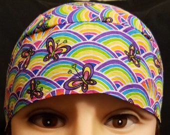 Rainbows w Butterflies Skull Cap, Chemo Cap, Surgical Cap, Alopecia, Head Wrap, Hat, Motorcycle, Hair Loss, Bald, Helmet Liner, Do Rag, Kids