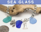 Mixed Color Sea Glass Bracelet with Charms