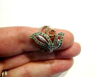Tsavorite Garnet Ring Sterling Silver Green Gemstone Size 7 Ring With Certificate Genuine Gemstone Ring