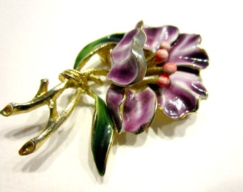 Vintage Signed Weiss Brooch Enamel Flower Purple Pin Vintage Designer Flower Pin Gift for Mom Gift for Her