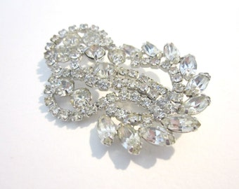 "Vintage Rhinestone Clear Brooch 2 1/8"" Vintage Wedding Pin Bridal Jewelry Formal Brooch Gift for Her Under 50 Jewelry Gift Idea"