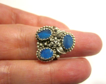 Natural Black Opal Ring Handcrafted Sterling Silver 3 Blue Opals Ring Silver Flowers Gemstone Ring