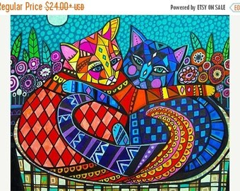 Marked Down 50% - 2 Cats Art Poster Print of Painting by Heather Galler (HG101)