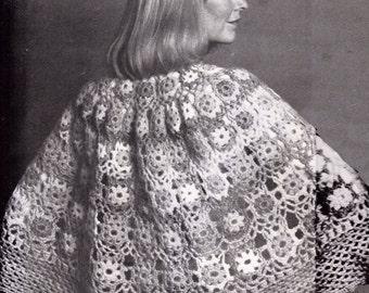 Vintage crochet cape capelet Crochet Pattern PDF 837 motifs shawl capelette from WonkyZebra