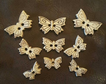 9 Sweet Ceramic Butterfly Buttons