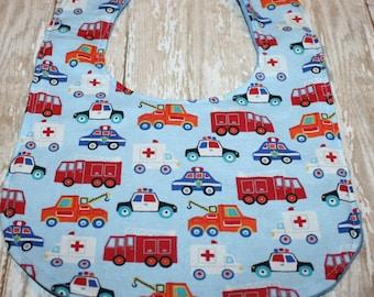 Baby Bib- Boy Baby Bib, Minky Baby Bib, Firetruck Baby Bib, Police Baby Bib, Ambulance Baby Bib, EMT Baby Bib