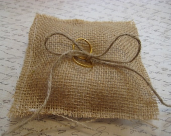 Rustic Burlap  Ring Bearer Pillow Rustic Wedding