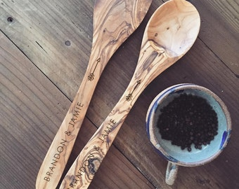 Custom Engraved Spoon & Spatula Set, Personalized Spoon, Serving Set, Olive Wood Kitchen Spoon and Spatula, Wedding Gift, Housewarming Gift