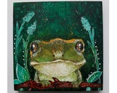 folk art Original frog painting mixed media art painting on wood canvas 6x6 inches - A magical meeting with a frog
