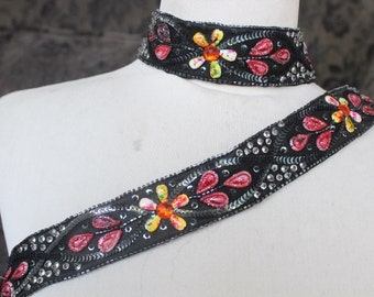 Cute  embroidered and beaded    applique  trim