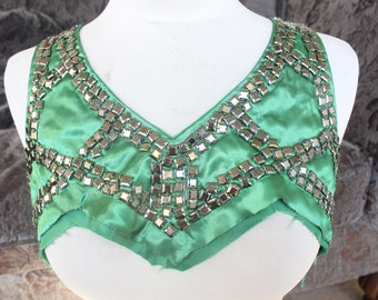 Cute embroidered  and beaded    applique   green  color