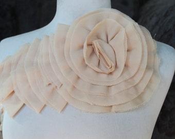 Nice ruffled  applique yoke  cream   color 1 pieces listing