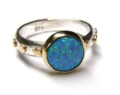 Blue Opal ring,14k gold ring ,silver ring ,Birthstone ring, Engagement Ring, Bridel set, Stackable Rings, Anniversary Rings, Gift for her