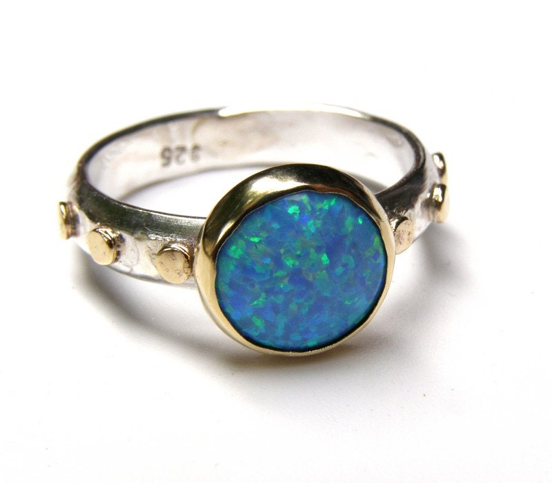 unique engagement ring opal ring gold and silver engagement