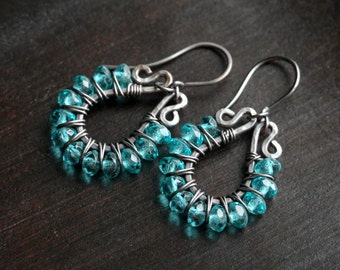 Teal drop earrings, beaded earrings, wire wrapped, dangle hoops, Czech glass, dark grey, oxidized copper, Mimi Michele Jewel