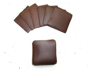 "Leather Die Cut Rectangles 2 1/16"" x 1 15/16"" in dark brown 10pc"