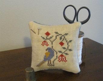 Primitive Cross Stitch Bird Pin Keep