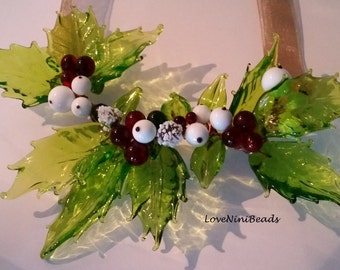 Holly ~ Christmas Holly Necklace ~ Glass Boughs of Holly