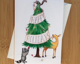 Woodland Happy Holidays Greeting Card - Blank Inside