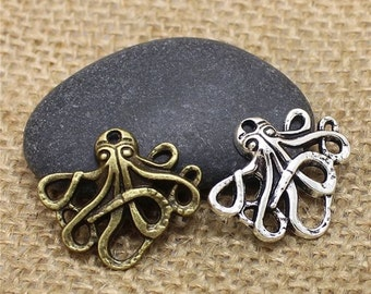 Tiny Octopus Steampunk Charms 8 Pack Silver or Brass